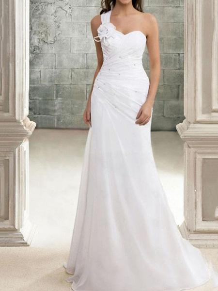 Mermaid \ Trumpet Wedding Dresses One Shoulder Sweep \ Brush Train Chiffon Sleeveless Simple_1