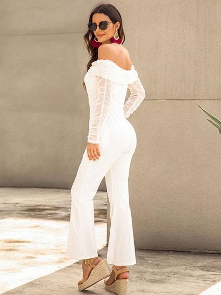 Women's Basic Off Shoulder White Black Royal Blue Slim Jumpsuit_3