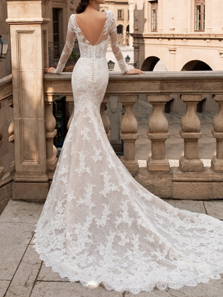 Mermaid \ Trumpet Bateau Neck Sweep \ Brush Train Lace Long Sleeve Romantic Boho Sexy Backless Illusion Sleeve Wedding Dresses_2