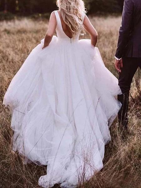 A-Line Wedding Dresses Bateau Neck Sweep \ Brush Train Tulle Regular Straps Romantic Plus Size_2