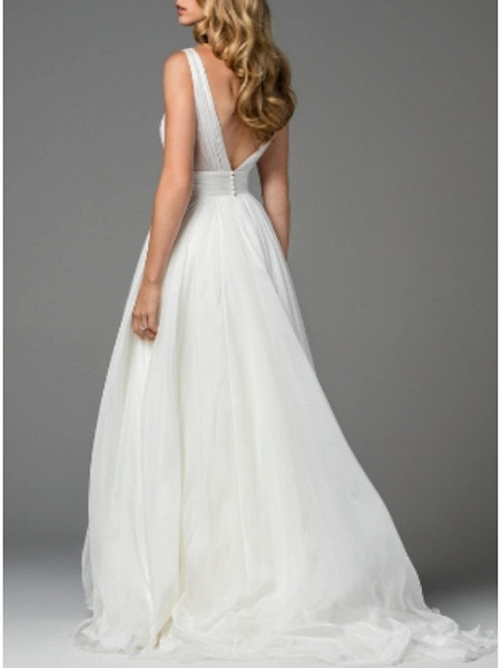A-Line Wedding Dresses V Neck Sweep \ Brush Train Chiffon Regular Straps Simple Casual Backless_2