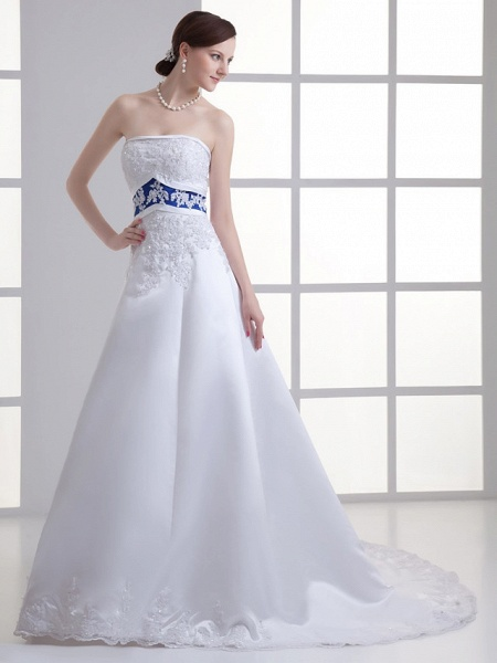 A-Line Strapless Court Train Lace Satin Strapless Wedding Dresses_3