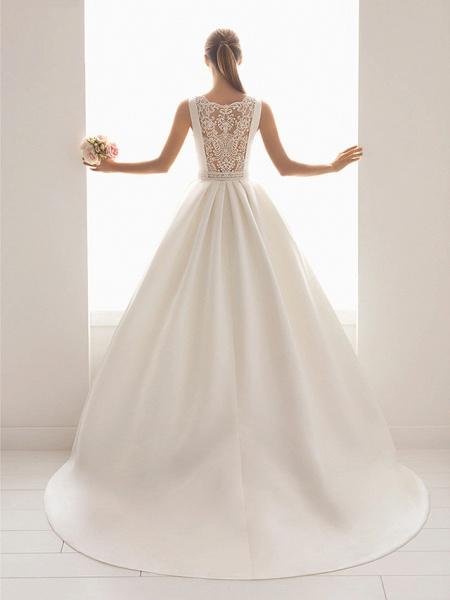 Ball Gown Wedding Dresses Bateau Neck Court Train Lace Polyester Regular Straps Elegant_3