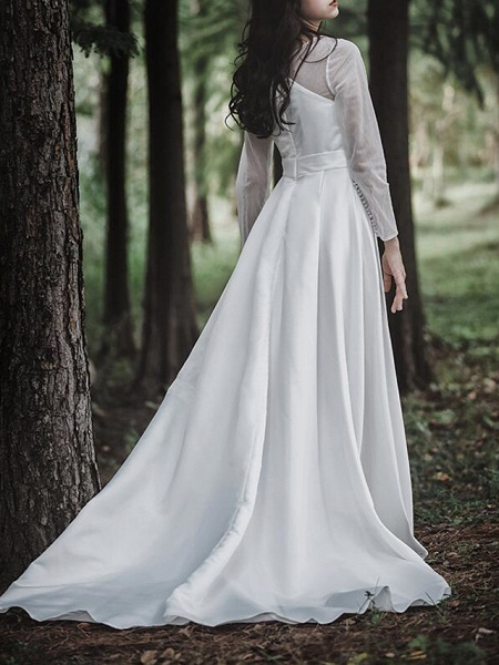 A-Line Wedding Dresses V Neck Court Train Chiffon Satin Long Sleeve Simple Elegant_3