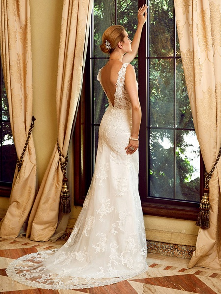Sheath \ Column V Neck Chapel Train Lace Tulle Regular Straps See-Through Wedding Dresses_5