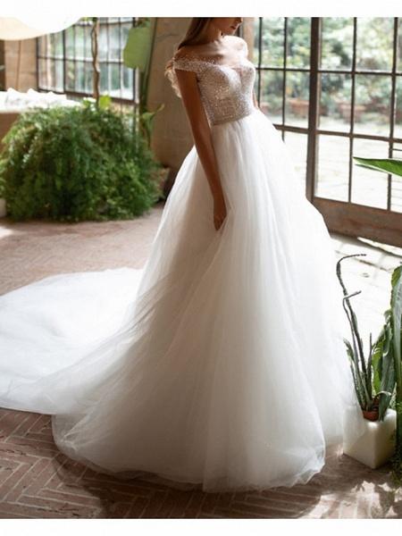 A-Line Wedding Dresses Off Shoulder Court Train Tulle Short Sleeve Plus Size_3