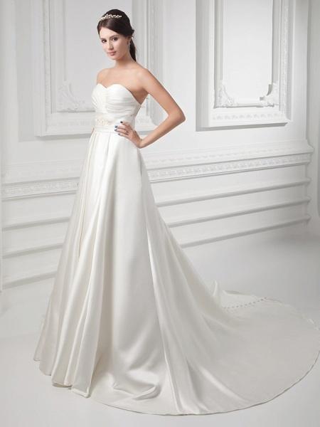 A-Line Sweetheart Neckline Court Train Satin Strapless Wedding Dresses_2