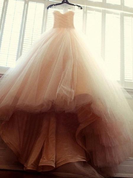 Ball Gown Wedding Dresses Strapless Court Train Tulle Strapless Formal Little White Dress_2