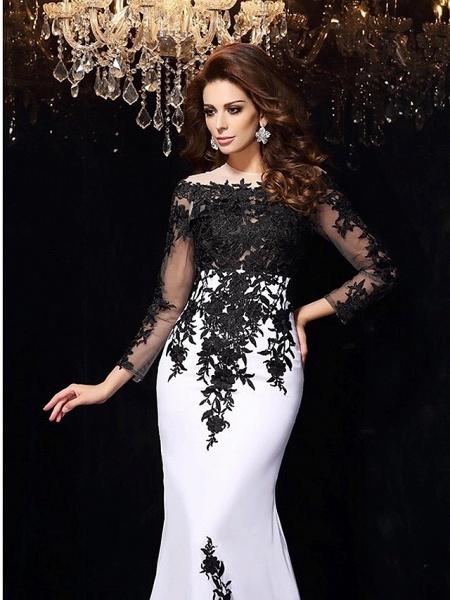 Mermaid \ Trumpet Wedding Dresses Bateau Neck Sweep \ Brush Train Lace Tulle Lace Over Satin Long Sleeve Sexy Black Illusion Sleeve_4