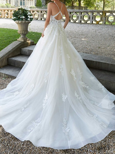 A-Line Spaghetti Strap Court Train Polyester Sleeveless Country Plus Size Wedding Dresses_2