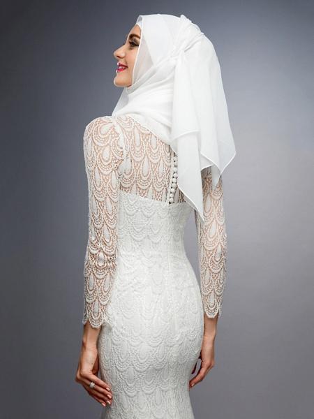 Mermaid \ Trumpet High Neck Court Train Lace Long Sleeve Wedding Dresses_8