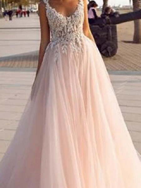 A-Line V Neck Court Train Lace Tulle Sleeveless Country Beach Sexy Wedding Dress in Color Wedding Dresses_3