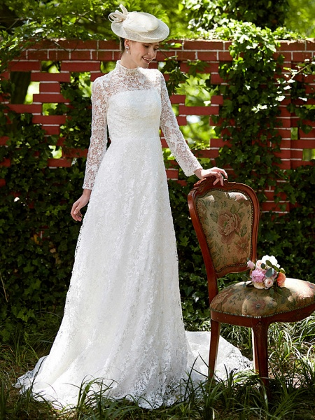 A-Line Wedding Dresses Illusion Neck Court Train All Over Lace Long Sleeve Floral Lace_4