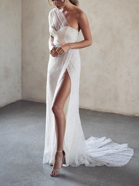 A-Line Wedding Dresses One Shoulder Strapless Court Train Tulle Sequined Sleeveless Sexy Wedding Dress in Color See-Through_4