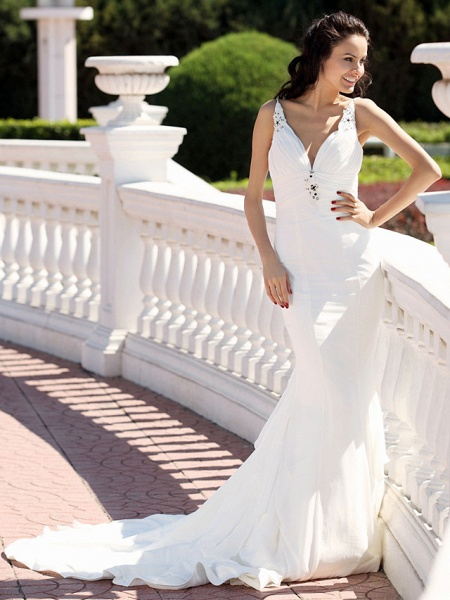 Mermaid \ Trumpet Wedding Dresses V Neck Spaghetti Strap Court Train Chiffon Satin Sleeveless_2