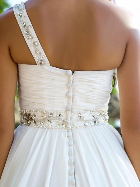 A-Line Wedding Dresses One Shoulder Court Train Chiffon Regular Straps Beach Sparkle & Shine_6