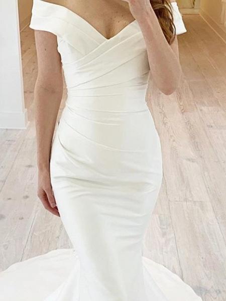 Mermaid \ Trumpet Wedding Dresses Off Shoulder Sweep \ Brush Train Chiffon Over Satin Short Sleeve Simple_2