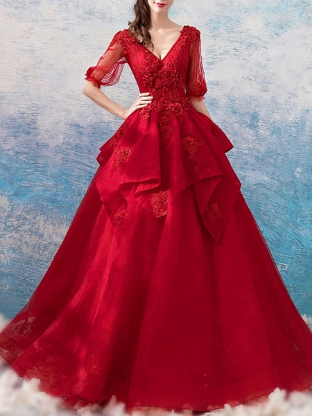Ball Gown Wedding Dresses V Neck Floor Length Polyester Half Sleeve Romantic Plus Size Red_1