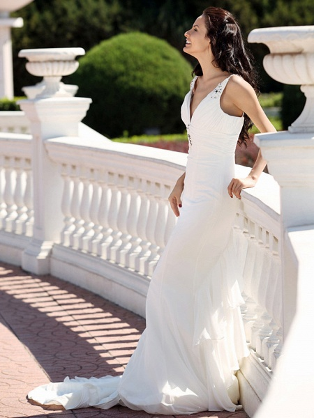Mermaid \ Trumpet Wedding Dresses V Neck Spaghetti Strap Court Train Chiffon Satin Sleeveless_5