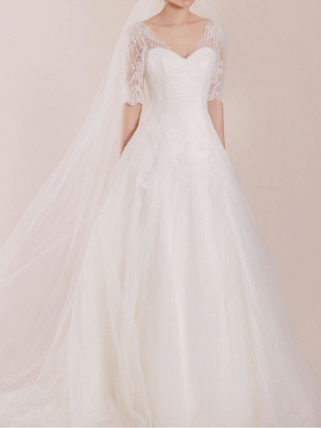 A-Line Wedding Dresses Sweetheart Neckline Sweep \ Brush Train Polyester Half Sleeve Country Plus Size Illusion Sleeve_1