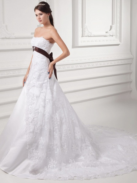A-Line Strapless Chapel Train Lace Satin Tulle Strapless Wedding Dresses_2