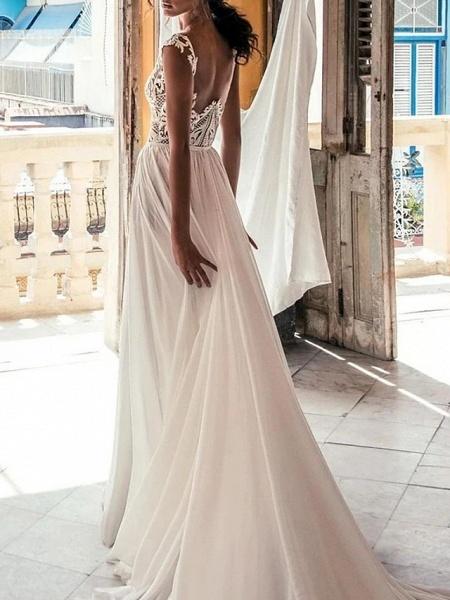 A-Line Wedding Dresses Plunging Neck Sweep \ Brush Train Chiffon Lace Cap Sleeve Beach Boho Sexy See-Through_2