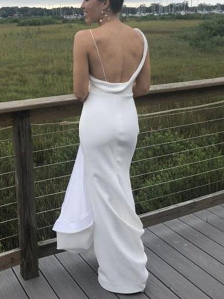 Mermaid \ Trumpet Wedding Dresses Bateau Neck V Neck Sweep \ Brush Train Satin Sleeveless Simple_2
