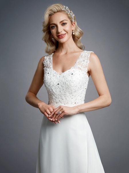 A-Line Wedding Dresses V Neck Floor Length Chiffon Lace Regular Straps Sexy_8