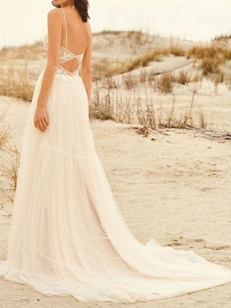 A-Line Wedding Dresses V Neck Sweep \ Brush Train Lace Tulle Spaghetti Strap Illusion Detail Backless_2
