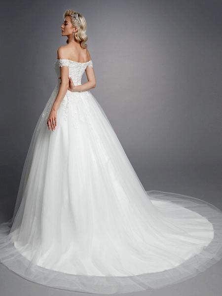 Ball Gown Wedding Dresses Off Shoulder Court Train Lace Tulle Short Sleeve Romantic Sparkle & Shine_2