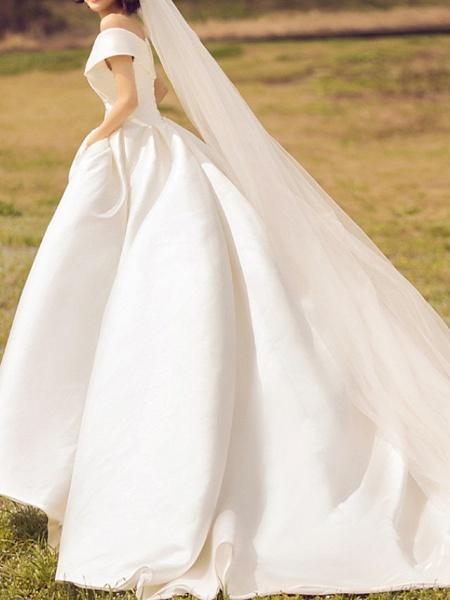 A-Line V Neck Court Train Chiffon Regular Straps Formal Plus Size Wedding Dresses_2