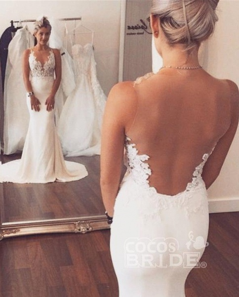 Mermaid Wedding Dress Sleeveless Lace summer Beach Wedding Gowns_2