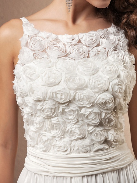 A-Line Wedding Dresses Scoop Neck Sweep \ Brush Train Chiffon Spaghetti Strap Formal_5