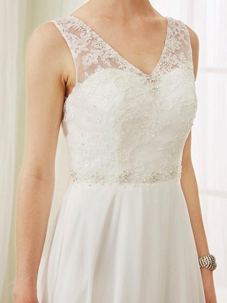 A-Line Wedding Dresses V Neck Court Train Chiffon Lace Bodice Regular Straps Sexy Illusion Detail Backless_8