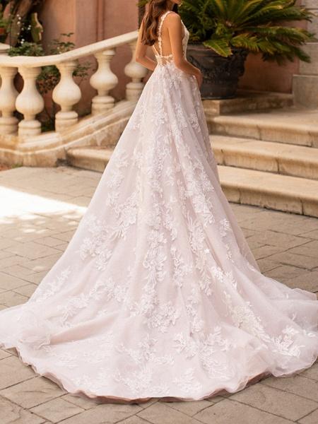 A-Line V Neck Court Train Polyester Sleeveless Formal Plus Size Wedding Dresses_3