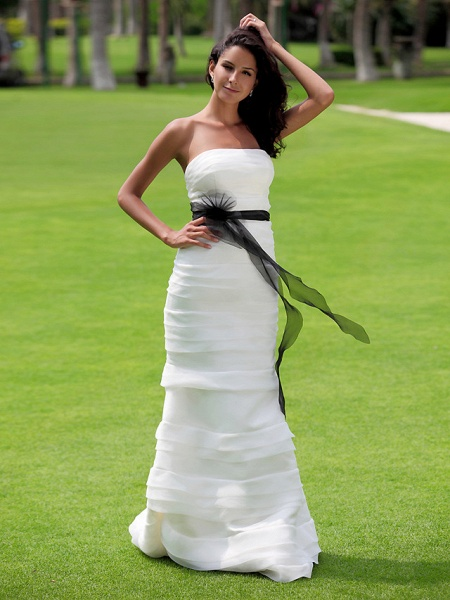 Mermaid \ Trumpet Wedding Dresses Strapless Floor Length Organza Satin Sleeveless Wedding Dress in Color_4