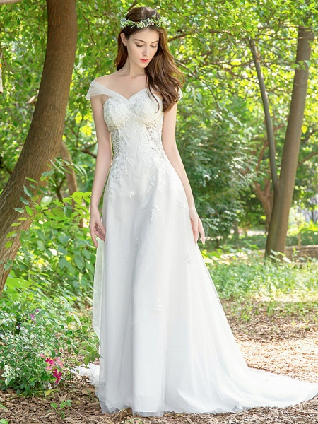 A-Line Wedding Dresses V Neck Court Train Lace Tulle Sleeveless_5