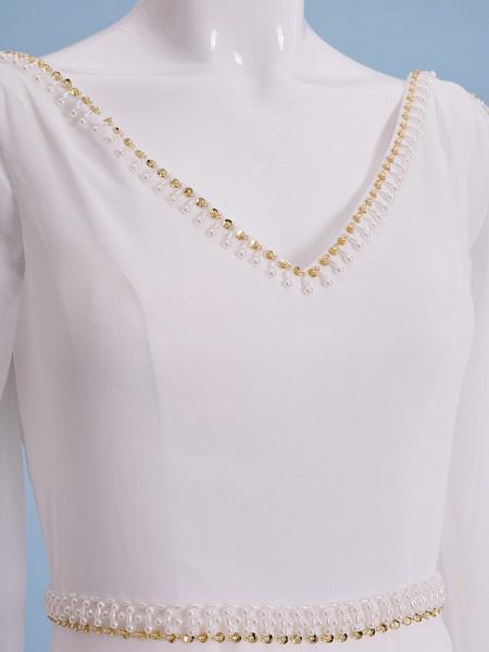 Sheath \ Column Wedding Dresses V Neck Court Train Chiffon Long Sleeve_9