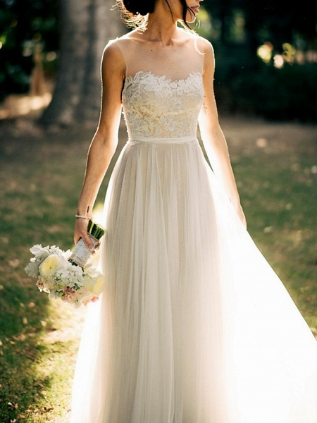 A-Line Wedding Dresses Jewel Neck Court Train Tulle Spaghetti Strap_2