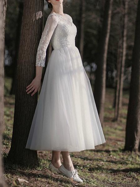A-Line Wedding Dresses Jewel Neck Ankle Length Lace Tulle Long Sleeve Simple Little White Dress Elegant Illusion Sleeve_1
