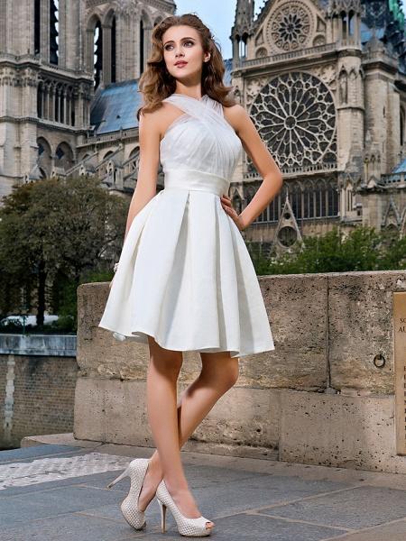 Ball Gown A-Line Wedding Dresses V Neck Knee Length Organza Satin Sleeveless Little White Dress_3