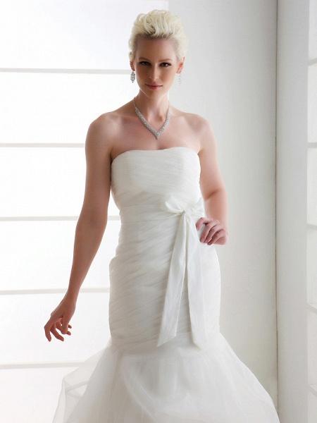 Mermaid \ Trumpet Wedding Dresses Strapless Court Train Organza Satin Sleeveless_3