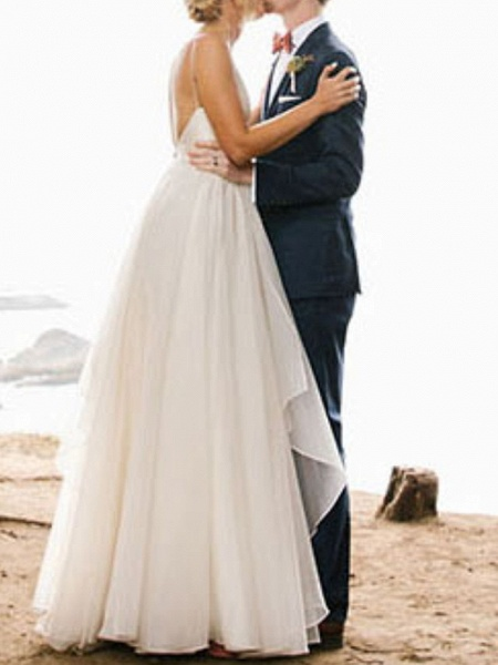A-Line Wedding Dresses V Neck Floor Length Chiffon Sleeveless Simple_4