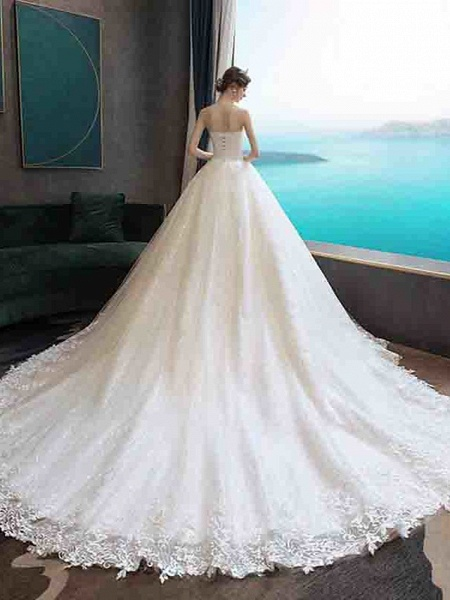 Ball Gown Wedding Dresses Strapless Court Train Tulle Strapless Country Glamorous Illusion Detail_13
