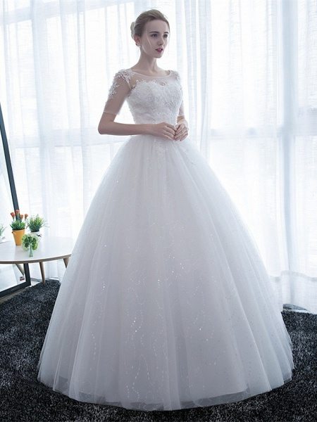 Ball Gown Wedding Dresses Scoop Neck Floor Length Satin Lace Over Tulle Half Sleeve Simple Backless_6