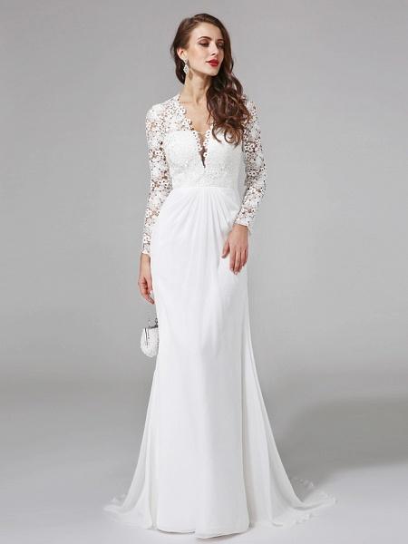 Sheath \ Column Wedding Dresses V Neck Sweep \ Brush Train Chiffon Floral Lace Long Sleeve Romantic Boho Illusion Sleeve_3
