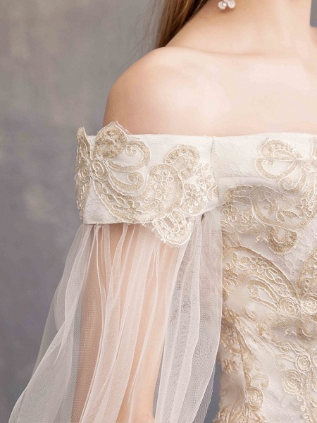 Ball Gown Wedding Dresses Off Shoulder Maxi Tulle Lace Over Satin Short Sleeve Glamorous Illusion Detail_4