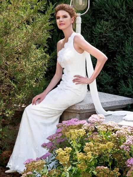 Mermaid \ Trumpet Wedding Dresses One Shoulder Sweep \ Brush Train Lace Sleeveless_4