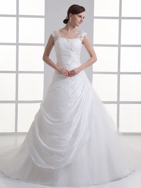 A-Line Square Neck Court Train Taffeta Tulle Regular Straps Wedding Dresses_1