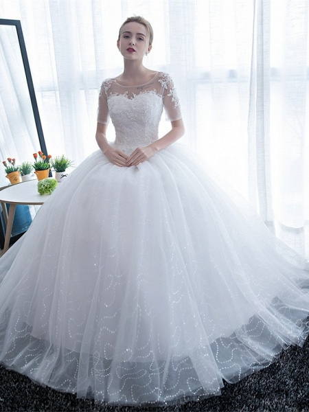 Ball Gown Wedding Dresses Scoop Neck Floor Length Satin Lace Over Tulle Half Sleeve Simple Backless_2